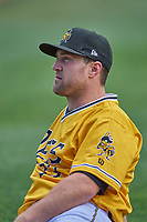 Scott Schebler (33) of the Salt Lake Bees before the game against the Tacoma Rainiers at Smith's Ballpark on May 16, 2021 in Salt Lake City, Utah. The Bees defeated the Rainiers 8-7. (Stephen Smith/Four Seam Images)