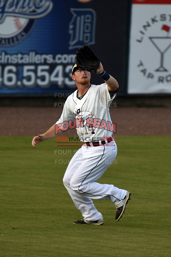 Lakeland Flying Tigers outfielder Raph Rhymes (14) catches a fly ball during a game against the Tampa Yankees on April 9, 2015 at Joker Marchant Stadium in Lakeland, Florida.  Tampa defeated Lakeland 2-0.  (Mike Janes/Four Seam Images)