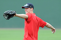 July 5, 2009: 2009 draft pick Jeremy Hazelbaker (15) of the Greenville Drive prior to a game against the Savannah Sand Gnats at Fluor Field at the West End in Greenville, S.C. Hazelbaker, who played with Ball State, was a fourth-round 2009 draft pick of the Boson Red Sox. Photo by: Tom Priddy/Four Seam Images