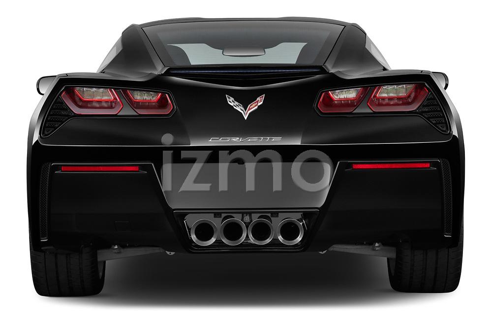Straight rear view of a 2019 Chevrolet Corvette Stingray Coupe 2LT 3 Door Targa stock images