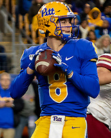 Pitt quarterback Kenny Pickett. The Boston College Eagles defeated the Pitt Panthers 26-19 in the football game played at Heinz Field, Pittsburgh Pennsylvania on November 30, 2019.