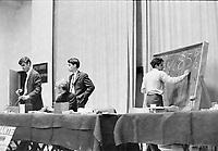 le leader etudiant Claude Charron lors des greves et occupations dans les CEGEP,<br /> a l'automne  1968<br /> <br /> PHOTO : Agence Quebec Presse