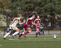 Boston College forward Kristen Mewis (19) and Florida State forward/defender Breezy Hupp (12) chase down loose ball. Florida State University defeated Boston College, 1-0, at Newton Soccer Field, Newton, MA on October 31, 2010.