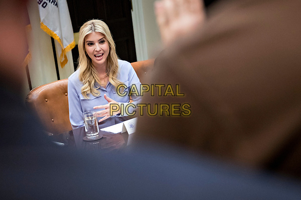 Ivanka Trump, daughter of U.S. President Donald Trump, speaks during a meeting with women small business owners and President Trump, not pictured, in the Roosevelt Room of the White House in Washington, D.C., U.S., on Monday, March 27, 2017.  Investors on Monday further unwound trades initiated in November resting on the idea that the election of Trump and a Republican Congress meant smooth passage of an agenda that featured business-friendly tax cuts and regulatory changes. <br /> CAP/MPI/CNP/RS<br /> ©RS/CNP/MPI/Capital Pictures