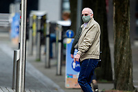 Pictured: A man walks down St Mary's Square, Swansea city centre, Wales, UK. Monday 28 September 2020<br /> Re: Local lockdown will be in force from 6pm on the 27th September 2020 due to the Covid-19 Coronavirus pandemic, in Swansea, Wales, UK.