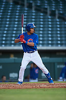 AZL Cubs 1 Fabian Pertuz (12) at bat during an Arizona League game against the AZL Giants Orange on July 10, 2019 at Sloan Park in Mesa, Arizona. The AZL Giants Orange defeated the AZL Cubs 1 13-8. (Zachary Lucy/Four Seam Images)