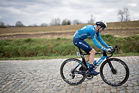 Juri Hollmann (DEU/Movistar) up the Stationsberg cobbles<br /> <br /> 64th E3 Classic 2021 (1.UWT)<br /> 1 day race from Harelbeke to Harelbeke (BEL/204km)<br /> <br /> ©kramon