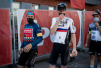 teammates Sonny Colbrelli (ITA/Bahrain - Victorious) & Matej Mohoric (SVN/Bahrain - Victorious) backstage at the final podium ceremony as GC-winner and stage winner/runner-up<br /> <br /> 17thBenelux Tour 2021 (2.UWT)<br /> (Final) Stage 7: from Namur to Geraardsbergen (178km)<br /> <br /> ©kramon