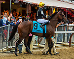 SEPT 05, 2021: SUE ELLEN MISKIN post parade in the Gr.1 Spinaway Stakes, for 2-year old fillies, going 7 furlongs, at Saratoga Racecourse, Saratoga Springs, New York. Sue Kawczynski/Eclipse Sportswire/CSM