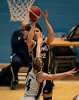 Catherine Carr of Sevenoaks Suns shoots during the WBBL Championship match between Sevenoaks Suns and Newcastle Eagles at Surrey Sports Park, Guildford, England on 20 March 2021. Photo by Liam McAvoy