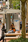 Transit shelter at the Portland Transit Mall in Portland, OR.