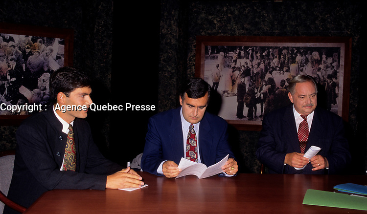 """Montreal (Qc) CANADA - File Photo - SEpt 16, 1995 -<br /> Mario Dumont, Leader Action Democratique du Quebec (L),<br /> Lucien Bouchard, Leader Bloc Quebecois (M),<br /> Jacques Parizeau, Leader Parti Quebecois and Quebec Premier (L)<br /> in a TV debate about the upcoming referendum<br /> <br /> The 1995 Quebec referendum was the second referendum to ask voters in the Canadian province of Quebec whether Quebec should secede from Canada and become an independent state, through the question:<br /> <br />     * Do you agree that QuÈbec should become sovereign after having made a formal offer to Canada for a new economic and political partnership within the scope of the bill respecting the future of QuÈbec and of the agreement signed on June 12, 1995?.<br /> <br /> The 1995 referendum differed from the first referendum on Quebec's sovereignty in that the 1980 question proposed to negotiate """"sovereignty-association"""" with the Canadian government, while the 1995 question proposed """"sovereignty"""", along with an optional partnership offer to the rest of Canada.<br /> <br /> The referendum took place in Quebec on October 30, 1995, and the motion to decide whether Quebec should secede from Canada was defeated by a very narrow margin of: 50.58% """"No"""" to 49.42% """"Yes""""."""