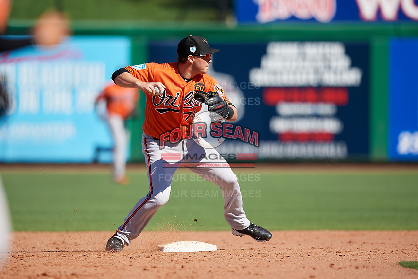 Baltimore Orioles second baseman Zach Vincej (71) throws to first base during a Grapefruit League Spring Training game against the Philadelphia Phillies on February 28, 2019 at Spectrum Field in Clearwater, Florida.  Orioles tied the Phillies 5-5.  (Mike Janes/Four Seam Images)