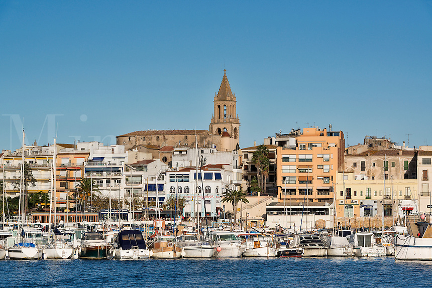 Overview of the harbor town of Palamos, Spain