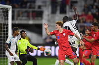 WASHINGTON, D.C. - OCTOBER 11: Josh Sargent #19 of the United States battles for  the ball during their Nations League game versus Cuba at Audi Field, on October 11, 2019 in Washington D.C.