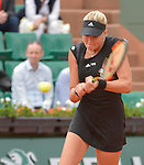 Kristina Mladenovic (FRA) defeats Eugenie Bouchard (CAN) 6-4, 6-4 at  Roland Garros being played at Stade Roland Garros in Paris, France on May 26, 2015