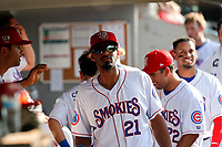 Tennessee Smokies outfielder Brennen Davis (21) in the dugout during the game against the Rocket City Trash Pandas at Smokies Stadium on July 2, 2021, in Kodak, Tennessee. (Danny Parker/Four Seam Images)