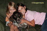 SH24-500z Children loving their German Shorthaired Pointer, PRA, Age 4 and 8