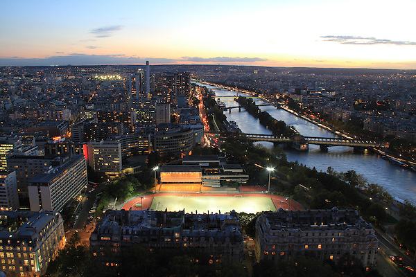 Sunset view of the Seine River from the Eiffel Tower, Paris, France.