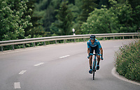 Mikel Landa (ESP/Movistar) ahead solo with just 3km to go<br /> <br /> Stage 5: Gstaad > Leukerbad (155km)<br /> 82nd Tour de Suisse 2018 (2.UWT)