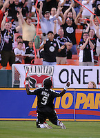 DC United forward Ange N'Silu (9) celebrates his goal in the 9th minute of the game.  DC United tied Toronto FC. 3-3 at  RFK Stadium, Saturday May 9, 2009.
