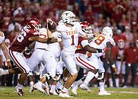 Arkansas DL Zach Williams (56)<br /> hits the ball loose from University of Texas QB Hudson Card (1) at <br /><br />Donald W. Reynolds Razorback Stadium, Fayetteville, AR, on Saturday, September 11, 2021 /  David Beach