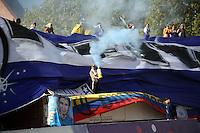 NEIVA -COLOMBIA- 6-SEPTIEMBRE-2014.Hinchas de Millonarios durante el partido contra el Atletico Huila  <br />  partido por la fecha 8 de la Liga Postobón II 2014 jugado en el estadio Guillermo Plazas Alcid de la ciudad de Neiva ./ Fans  of Millonarios  during the match againstAtletico Huila   for the 8th date of the Postobon League II 2014 played at Guillermo Plazas Alcid  stadium in Neiva city.Photo / VizzorImage / Andrew Indell / Stringer