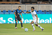 SAN JOSE, CA - SEPTEMBER 19: Jeremy Ebobisse #17 of the Portland Timbers keeps the ball away from Shea Salinas #6 of the San Jose Earthquakes during a game between Portland Timbers and San Jose Earthquakes at Earthquakes Stadium on September 19, 2020 in San Jose, California.