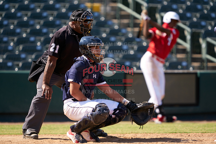 Catcher Rene Lastres (23) during the Baseball Factory All-Star Classic at Dr. Pepper Ballpark on October 4, 2020 in Frisco, Texas.  Rene Lastres (23), a resident of Miami, Florida, attends Calvary Christian Academy.  (Ken Murphy/Four Seam Images)
