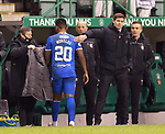 27.01.2021 Hibs v Rangers: Alfredo Morelos off for Kemar Roofe and congratulated by Steven Gerrard