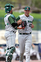 Fort Wayne TinCaps pitcher Ben Sheckler (21) is greeted at the mound by catcher Webster Rivas (8) during the Midwest League baseball game against the West Michigan Michigan Whitecaps  on April 26, 2017 at Fifth Third Ballpark in Comstock Park, Michigan. West Michigan defeated Fort Wayne 8-2. (Andrew Woolley/Four Seam Images via AP Images)