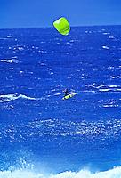Kitesurfing at Hookipa beachpark, Maui