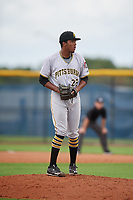 GCL Pirates pitcher Wilger Camacho (28) during a Gulf Coast League game against the GCL Rays on August 7, 2019 at Charlotte Sports Park in Port Charlotte, Florida.  GCL Rays defeated the GCL Pirates 5-3 in the second game of a doubleheader.  (Mike Janes/Four Seam Images)