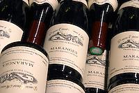 pile of bottles maranges dom e monnot & f santenay cote de beaune burgundy france