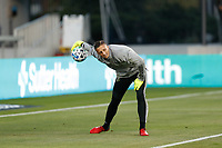 SAN JOSE, CA - SEPTEMBER 19: Aljaz Ivacic #31 of the Portland Timbers during warmups before a game between Portland Timbers and San Jose Earthquakes at Earthquakes Stadium on September 19, 2020 in San Jose, California.