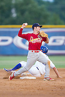 Johnson City Cardinals second baseman Casey Turgeon (8) turns a double play against the Burlington Royals at Burlington Athletic Park on July 14, 2014 in Burlington, North Carolina.  The Cardinals defeated the Royals 9-4.  (Brian Westerholt/Four Seam Images)