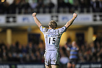 Scott Hamilton of Leicester Tigers celebrates getting to the LV= Cup Final after beating Bath Rugby 16-17 at The Recreation Ground, Bath (Photo by Rob Munro, Fotosports International)