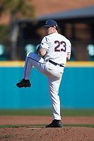 Connecticut Huskies relief pitcher Sam Favieri (23) in action against the Miami Redhawks at Springs Brooks Stadium on March 5, 2021 in Conway, South Carolina. The Huskies defeated the Redhawks 5-0. (Brian Westerholt/Four Seam Images)
