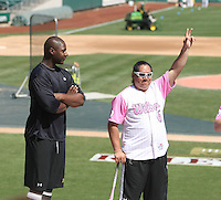 Chris Carter with softball star Crystl Bustos in a pregame talk to fans before the Sacramento RiverCats game against the Reno Aces at Raley Field, Sacramento, CA - 04/18/2010.Photo by:  Bill Mitchell/Four Seam Images.