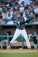 Jacksonville Jumbo Shrimp designated hitter Eric Jagielo (25) at bat during a game against the Mobile BayBears on April 14, 2018 at Baseball Grounds of Jacksonville in Jacksonville, Florida.  Mobile defeated Jacksonville 13-3.  (Mike Janes/Four Seam Images)