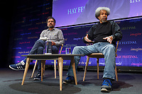 Pictured: Albert Woodfox (R) who spent 40 years in a US prison for a crime he did not commit, speaks to Sarfraz Manzoor. Friday 31 May 2019<br /> Re: Hay Festival, Hay on Wye, Wales, UK.