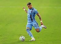 WASHINGTON, DC - SEPTEMBER 06: Ronald Matarrita #22 of New York City FC crosses the ball during a game between New York City FC and D.C. United at Audi Field on September 06, 2020 in Washington, DC.