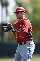 Washington Nationals catcher Spencer Kieboom (29) during practice before a minor league spring training game against the Atlanta Braves on March 26, 2014 at Wide World of Sports in Orlando, Florida.  (Mike Janes/Four Seam Images)