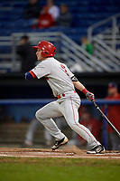 Auburn Doubledays right fielder Jonathan Pryor (7) hits a single during a game against the Batavia Muckdogs on September 6, 2017 at Dwyer Stadium in Batavia, New York.  Auburn defeated Batavia 6-3.  (Mike Janes/Four Seam Images)