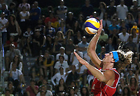 Latvia's Aleksandrs Samoilovs in action during the men's final match between Usa and Latvia at the Beach Volleyball World Tour Grand Slam, Foro Italico, Rome, 23 June 2013. USA defeated Latvia 2-0.<br /> UPDATE IMAGES PRESS/Isabella Bonotto