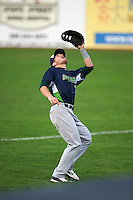 Vermont Lake Monsters first baseman Chris Iriart (18) catches a popup during the first game of a doubleheader against the Batavia Muckdogs August 11, 2015 at Dwyer Stadium in Batavia, New York.  Batavia defeated Vermont 6-0.  (Mike Janes/Four Seam Images)