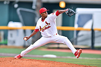 Johnson City Cardinals starting pitcher Angel Rondon (47) delivers a pitch during a game against the Bristol Pirates at TVA Credit Union Ballpark on June 23, 2017 in Johnson City, Tennessee. The Pirates defeated the Cardinals 4-3. (Tony Farlow/Four Seam Images)