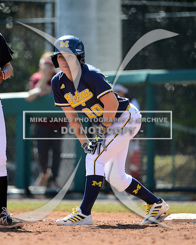 Michigan Wolverines Softball outfielder Mary Sbonek (20) on first during a game against the Bethune-Cookman on February 9, 2014 at the USF Softball Stadium in Tampa, Florida.  Michigan defeated Bethune-Cookman 12-1.  (Copyright Mike Janes Photography)