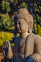 One of the multiple Buddha sculptures outside of the Spanish Town Shops in Half Moon Bay.