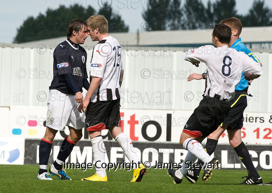 07/08/2010   Copyright  Pic : James Stewart.sct_jsp014_falkirk_v_dunfermline  .::  MARK MILLAR AND WULLIE GIBSON FACE UP TO EACH OTHER BEFORE MILLAR GETS SENT OFF ::  .James Stewart Photography 19 Carronlea Drive, Falkirk. FK2 8DN      Vat Reg No. 607 6932 25.Telephone      : +44 (0)1324 570291 .Mobile              : +44 (0)7721 416997.E-mail  :  jim@jspa.co.uk.If you require further information then contact Jim Stewart on any of the numbers above.........